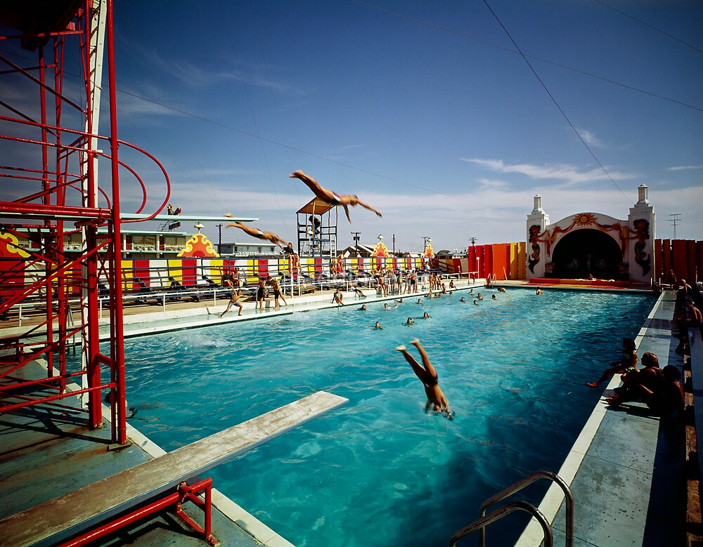 Aqua Circus Pool and Divers at Sportland Pier in Wildwood New Jersey - 1960's by aladdincolor