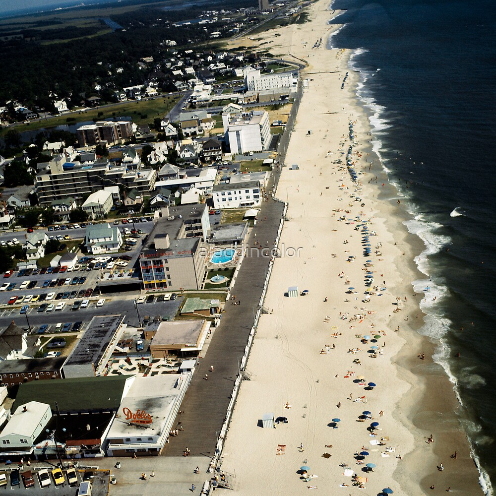 Rehoboth Beach Delaware's Beach & Boardwalk 1960's Airview  by aladdincolor