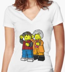 Back To The Future Lego Women's Fitted V-Neck T-Shirt