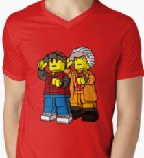 Back To The Future Lego Mens V-Neck T-Shirt