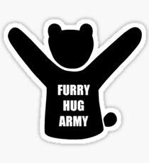 Furry Hug Army Bear Sticker
