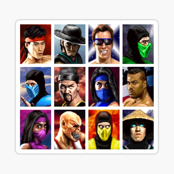 Mortal Kombat 2 - Character Select - Clean Sticker