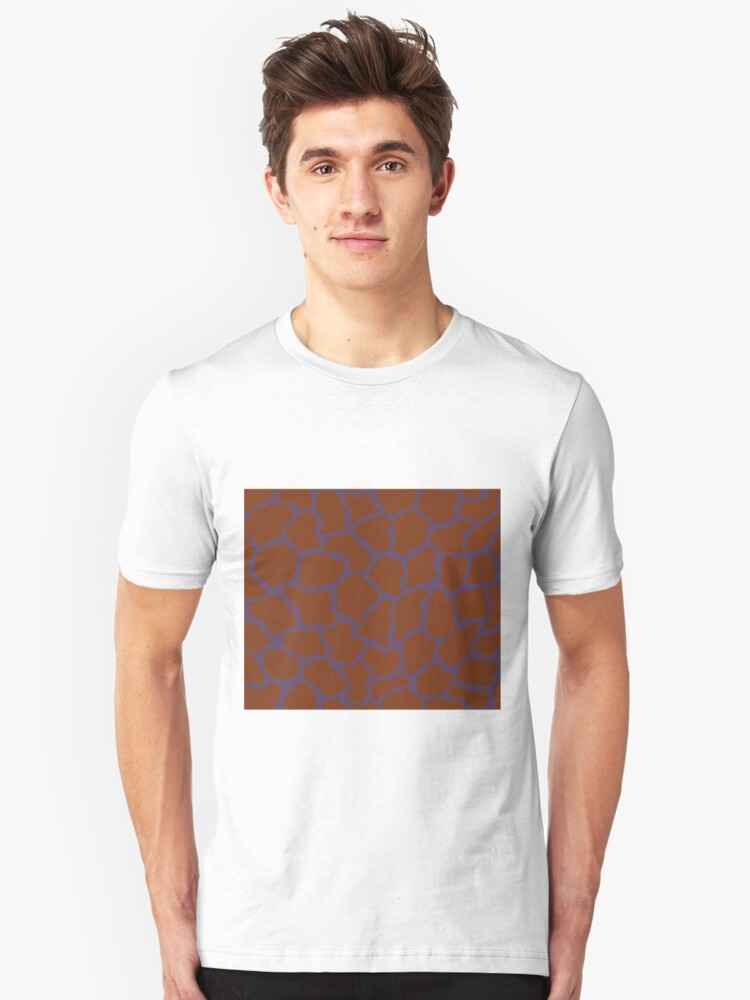 English Violet or Old Heliotrope in Giraffe Pattern  Unisex T-Shirt Front