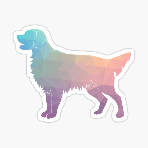 Flat-Coated Retriever and Golden Retriever Geometric Pattern Silhouette - Pastel Sticker
