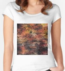 psychedelic camouflage sketching abstract pattern in brown orange and black Women's Fitted Scoop T-Shirt