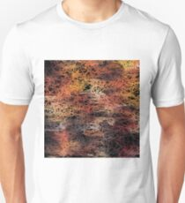 psychedelic camouflage sketching abstract pattern in brown orange and black Unisex T-Shirt