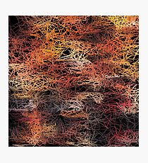 psychedelic camouflage sketching abstract pattern in brown orange and black Photographic Print