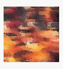 psychedelic camouflage painting abstract pattern in brown orange and black Photographic Print