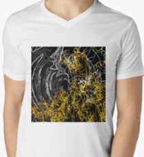 psychedelic sketching line pattern abstract in yellow black and white T-Shirt