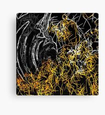 psychedelic sketching line pattern abstract in yellow black and white Canvas Print
