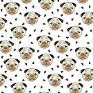 Pugs - weißer Hintergrund von Andrea Lauren von Andrea Lauren