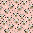 Möpse - Rosa Hintergrund von Andrea Lauren von Andrea Lauren