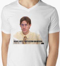 Jim Halpert - Bears, beets, battlestar galactica Men's V-Neck T-Shirt