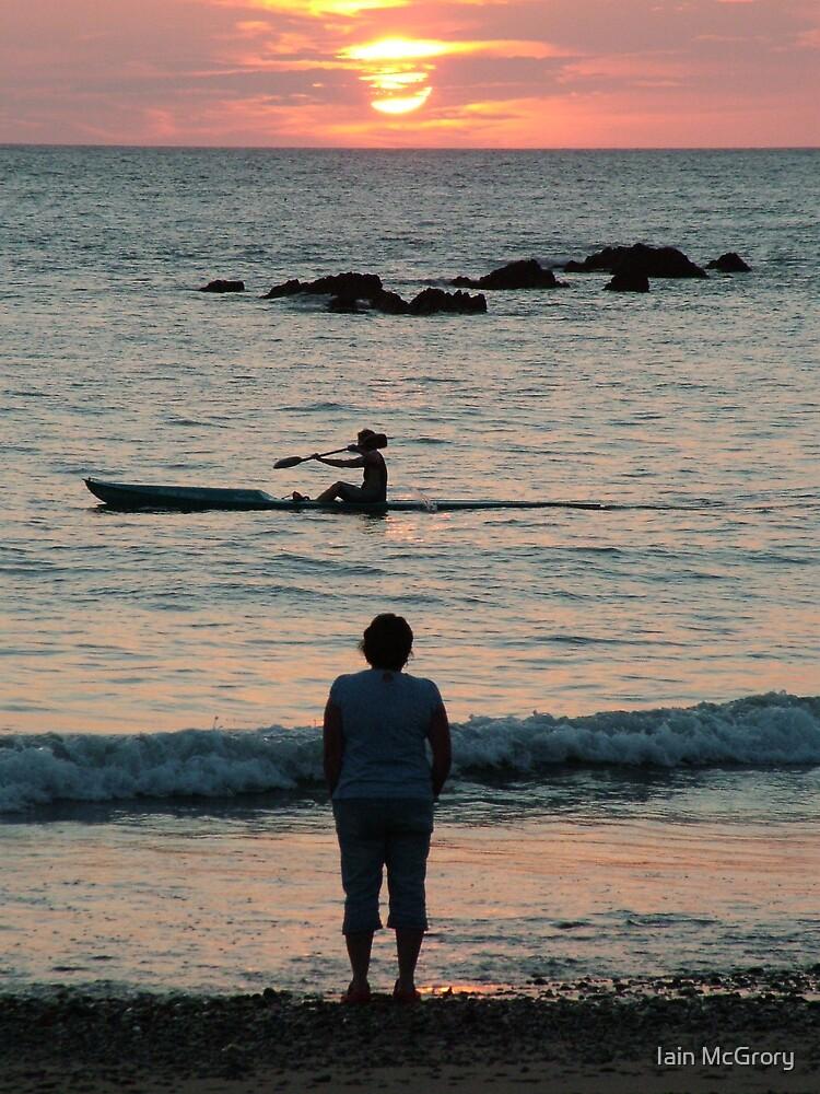 Bude sunset over canoe, last sunset of summer by Iain McGrory