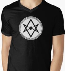 Aleister Crowley - DO WHAT THOU WILT SHALL BE THE WHOLE OF THE LAW - Occult - Thelema (White On Black) Men's V-Neck T-Shirt