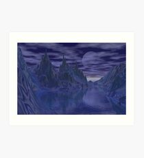 Moonlit mountains Art Print