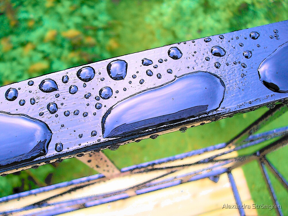 drops on a railing by Alexandra Strömgren