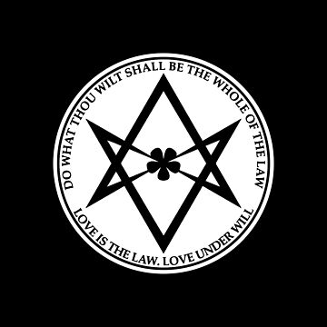 Aleister Crowley - HAGA LO QUE DEJARÁ SER EL TODO DE LA LEY - Ocultismo - Thelema (Blanco sobre negro) de createdezign