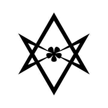 Aleister Crowley - Símbolo de Magick - Golden Dawn - Ocultismo - Thelema (Negro sobre blanco) de createdezign
