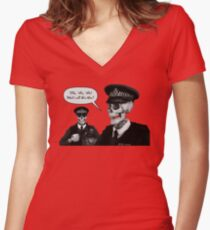 Skeleton Police (Red) Women's Fitted V-Neck T-Shirt