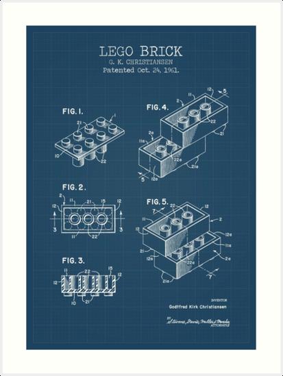 Lego brick blueprint art prints by muharko redbubble lego brick blueprint by muharko malvernweather Choice Image