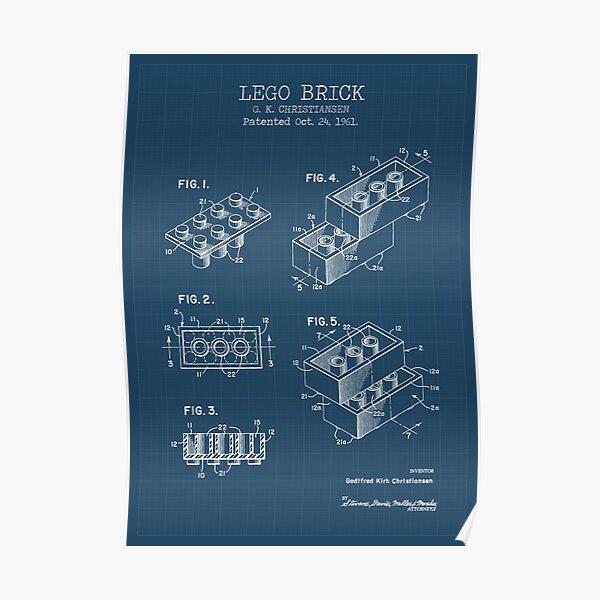 Lego Brick  blueprint patent Poster