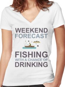 Weekend Forecast Fishing Drinking Funny Boat Text Camp Outdoor Women's Fitted V-Neck T-Shirt