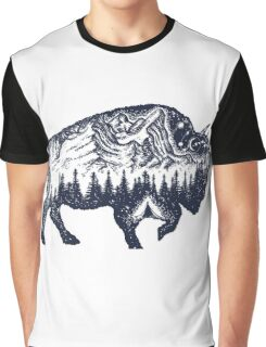 Bison double exposure Graphic T-Shirt