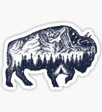 Bison double exposure Sticker