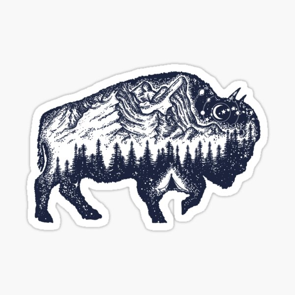 Bison double exposure Sticker