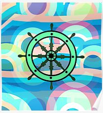 Ship helm on an abstract background Poster