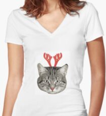 Red Nose Reindeer Cat! Women's Fitted V-Neck T-Shirt