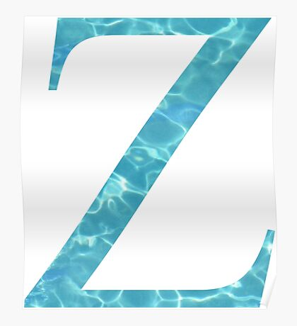Zeta Z Tropical Water Blue Greek Sorority Poster