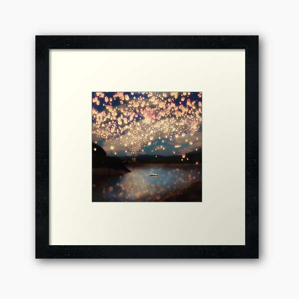 Wish Lanterns for Love Framed Art Print