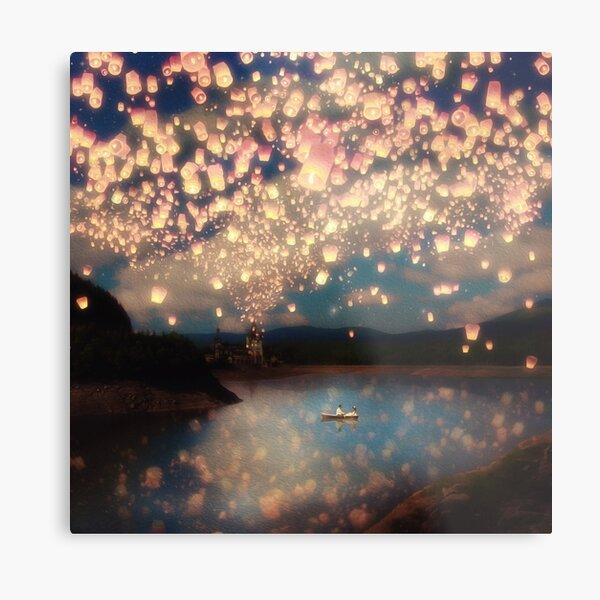 Wish Lanterns for Love Metal Print