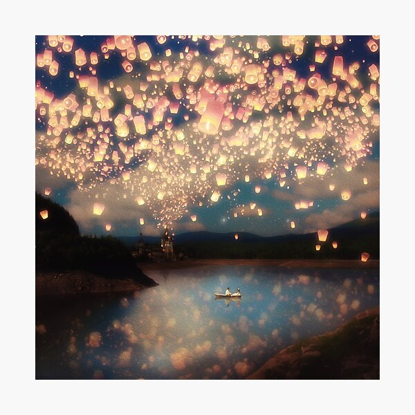 Wish Lanterns for Love Photographic Print