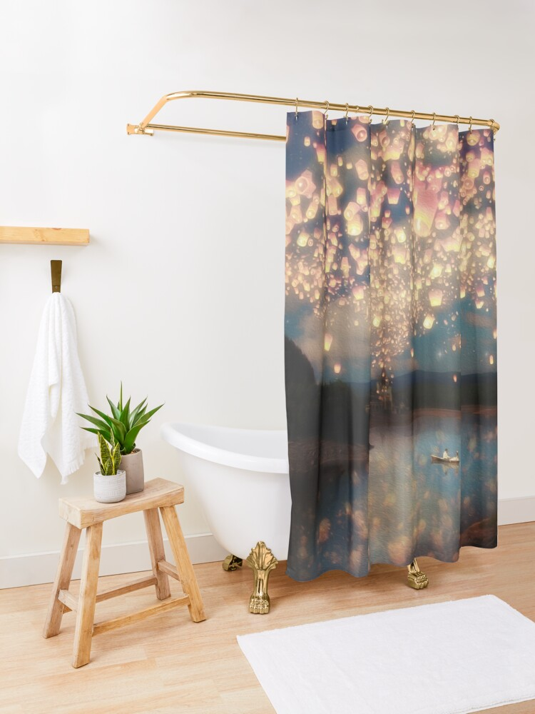 Alternate view of Wish Lanterns for Love Shower Curtain