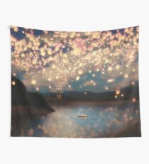 Wish Lanterns for Love Wall Tapestry