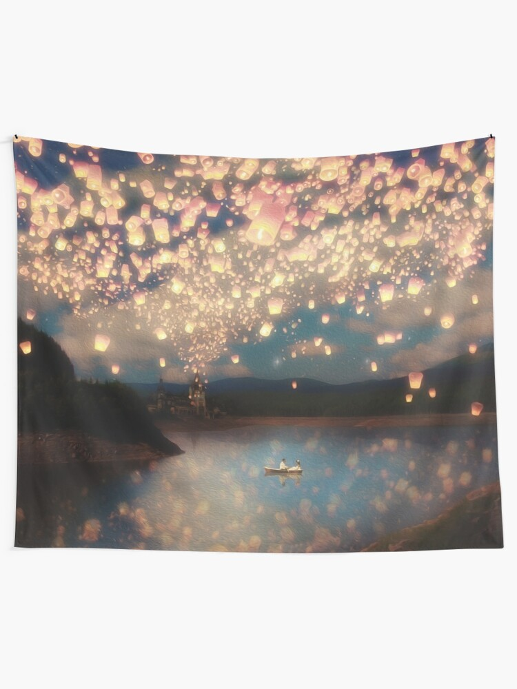 Alternate view of Wish Lanterns for Love Wall Tapestry