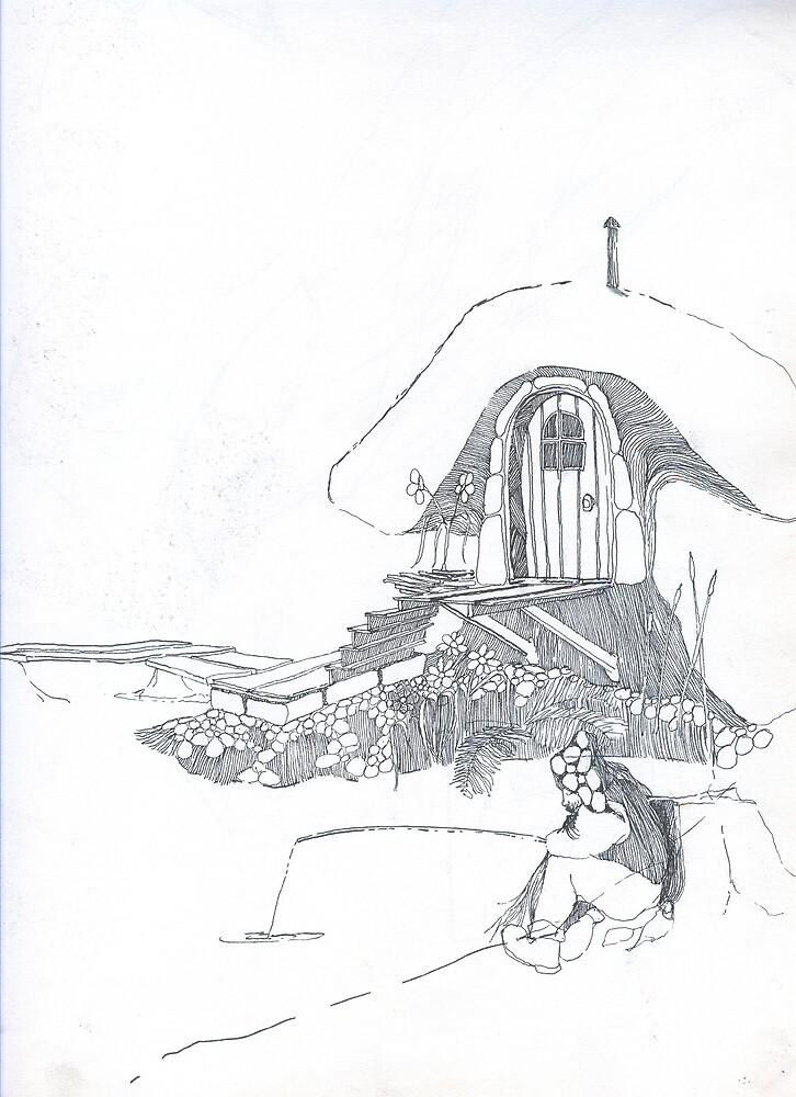 Mushroom House-Whimsical Graphite Drawing by Terry Krysak