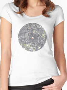 Mexico City map engraving Women's Fitted Scoop T-Shirt