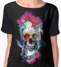 Floral Skull Blue Women's Chiffon Top