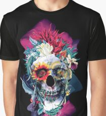 Floral Skull Blue Graphic T-Shirt