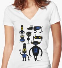 Lots of Robots! Women's Fitted V-Neck T-Shirt