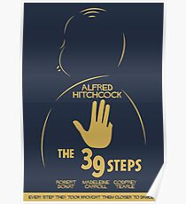 The 39 steps, Alfred Hitchock, movie poster, Thriller, classic movie, classic film, old movie Poster