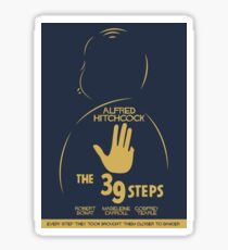The 39 steps, Alfred Hitchock, movie poster, Thriller, classic movie, classic film, old movie Sticker