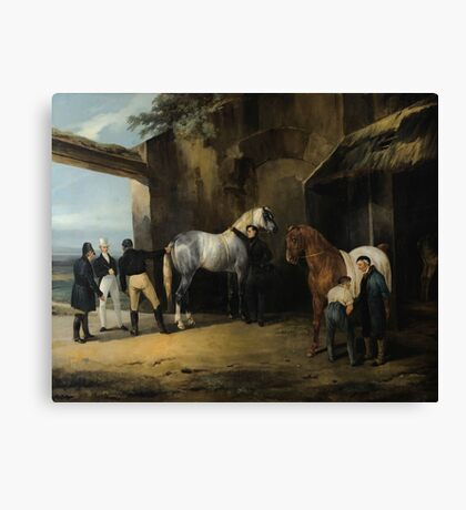 EMILE-JEAN-HORACE VERNET ; FIGURES BEFORE THE STABLE Canvas Print