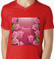 Happy Mothers Day pink background with pretty tulips Mens V-Neck T-Shirt