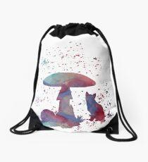 Mushroom Cat Drawstring Bag