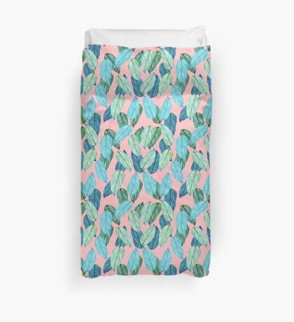 Tropical Leaves in Aqua and blue on coral Duvet Cover